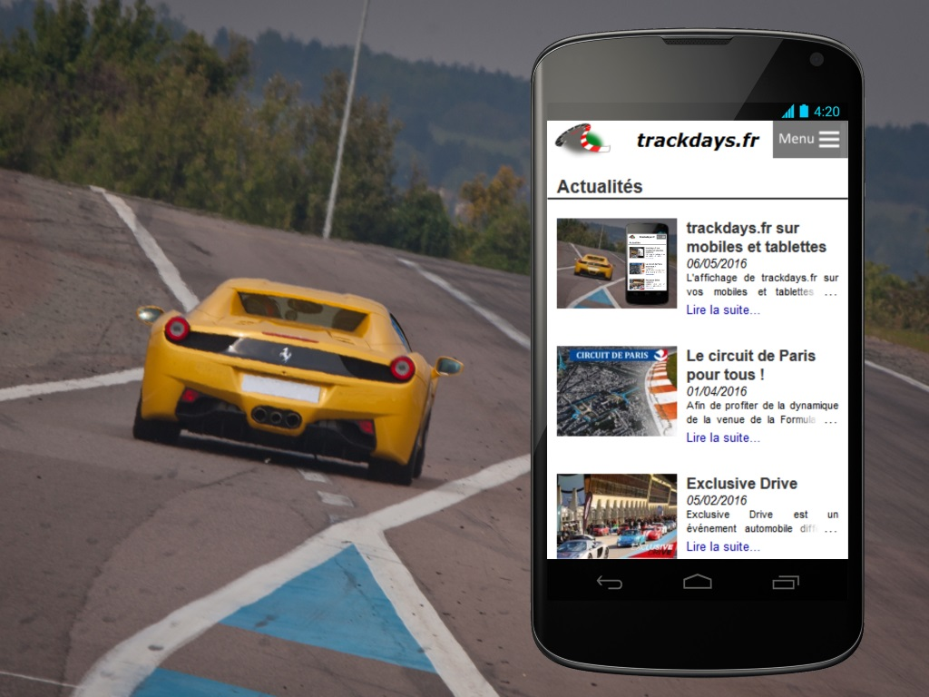 trackdays.fr on mobiles and tablets